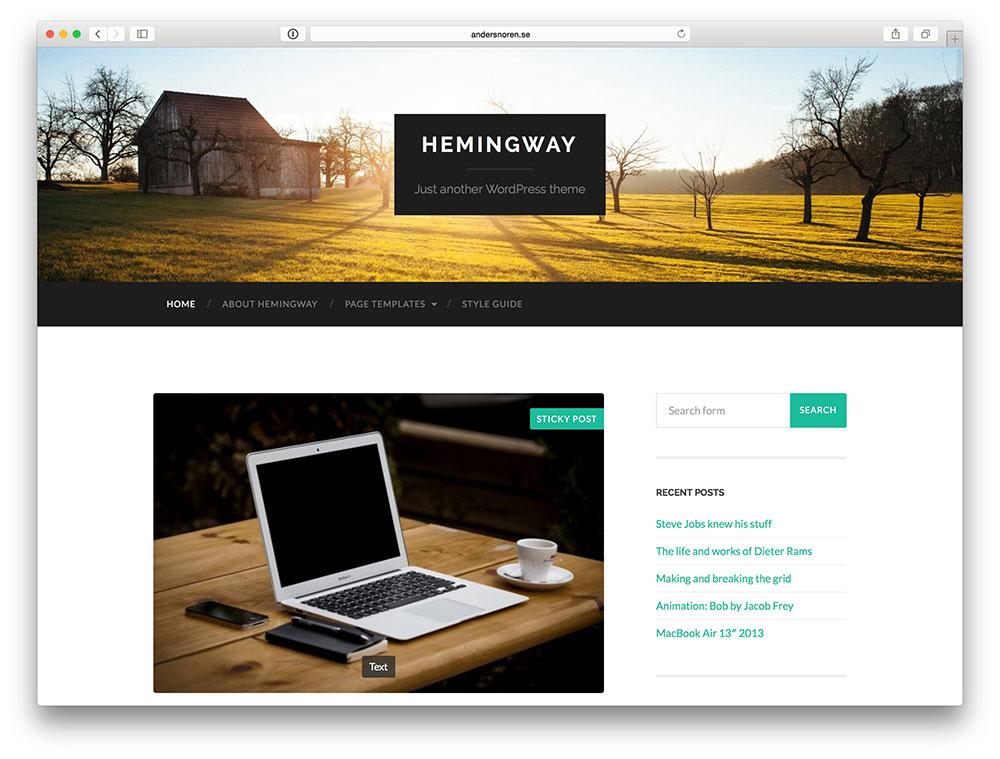 hemingway blog theme