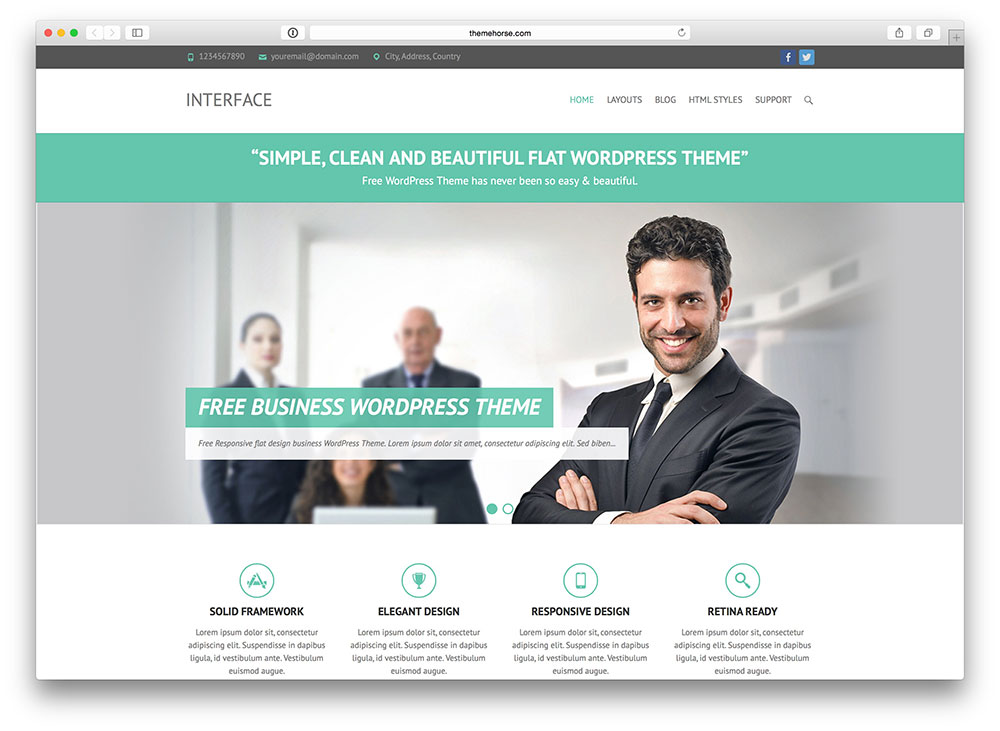 interface corporate WP theme