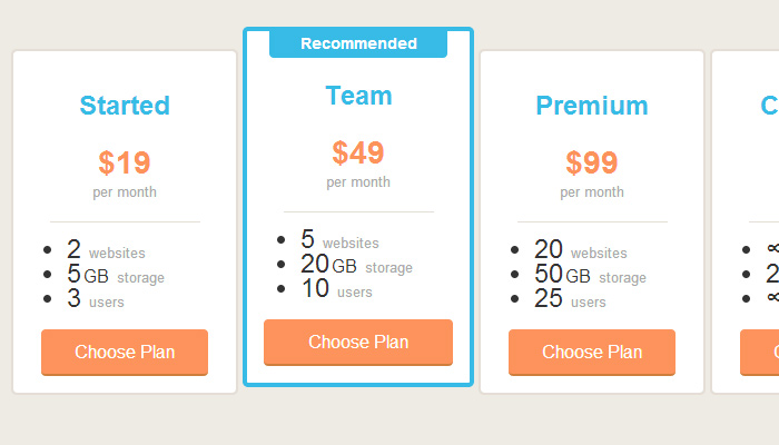 pricing tables css3 open source codepen