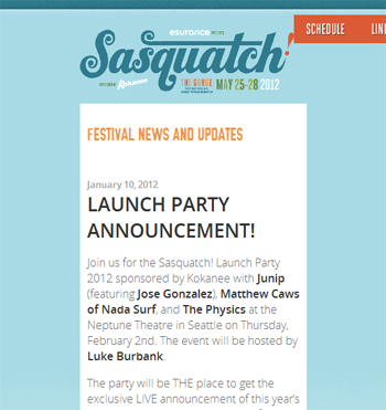 responsive mobile view of Sasquatch Music Festival