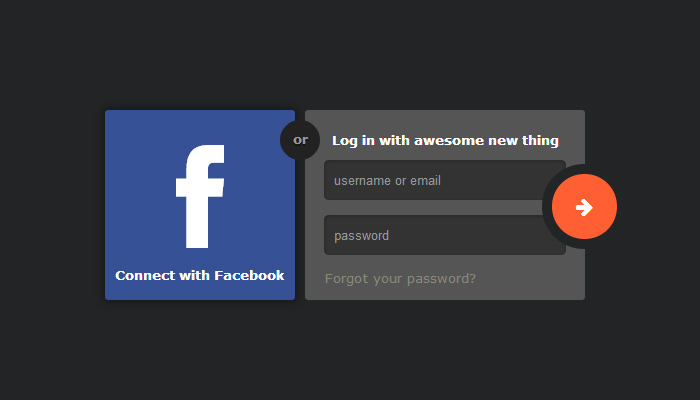 facebook connect or login form css3 freebie open source