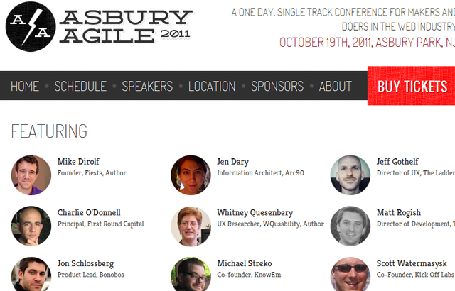 desktop view of Asbury Agile Web Conference