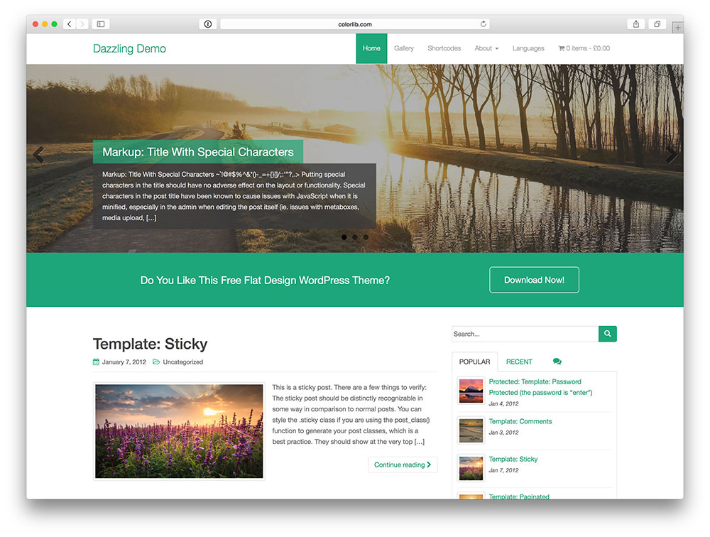 Dazzling Bootstrap theme