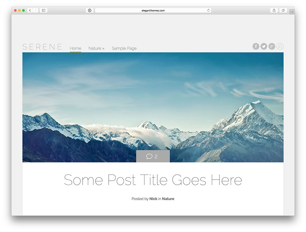 serene blog template