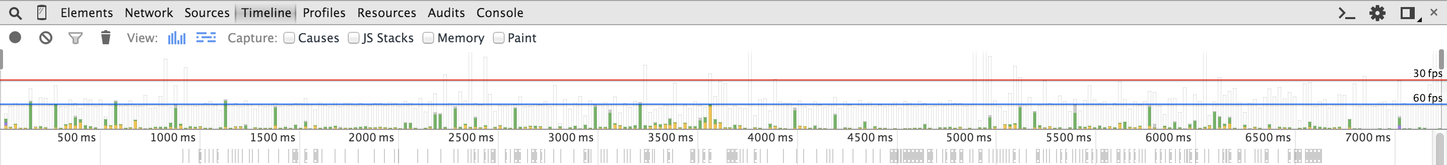 Screenshot of Chrome DevTools Timeline after the performance optimization