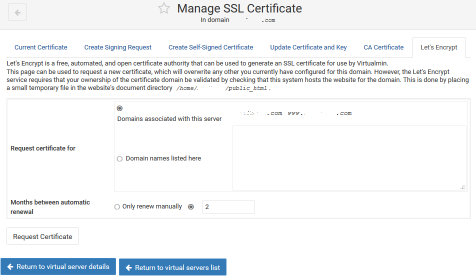 Request Let's Encrypt SSL Cert